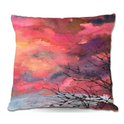 DiaNoche Designs - Pillow Woven Poplin by Anne Giffords Red Clouds With Twig Tree - Toss this decorative pillow on any bed, sofa or chair, and add personality to your chic and stylish decor. Lay your head against your new art and relax! Made of woven Poly-Poplin.  Includes a cushy supportive pillow insert, zipped inside. Dye Sublimation printing adheres the ink to the material for long life and durability. Double Sided Print, Machine Washable, Product may vary slightly from image.