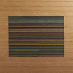 Chilewich® Chroma Dark Stripe Placemat - Durable polyester-vinyl placemat textures the table in an exclusive pattern of deep darks and vivid brights that takes its cue from finely woven textiles.
