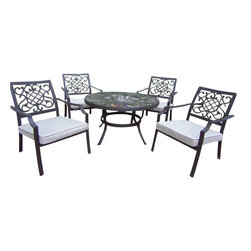 """Oakland Living - Oakland Living Stone Art 44"""" Deep Seating 5-Piece Chat Set with Cushions - Oakland Living - Patio Dining Sets - 70005760019CF - About This Product:"""