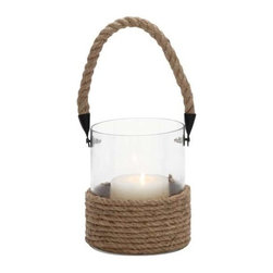 BZBZ23828 - Cylindrical Shape Glass Lantern with Rope Handle - Cylindrical Shape Glass Lantern with Rope Handle. The perfect choice for shining some light on your evening garden parties, this beautifully designed glass candle lantern with rope handle is simple in design and very convenient to use. The dimensions of the cylindrical jar glass and rope candle lantern are 6x6x6. Some assembly may be required.
