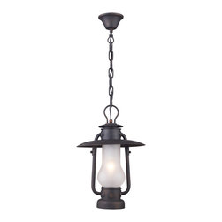 Elk Lighting - Chapman 1-Light Pendant in Matte Black - This series is reminiscent of the hurricane oil lanterns predominantly used in railroad and nautical applications in the late 1800's. Although powered by electric, the essence of this old world inspired collection remains. The matte black finish of the heavy ironwork cleverly contrasts the acid etched blown glass to complete the historic appeal.