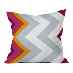 DENY Designs - Karen Harris Modernity Solstice Warm Chevron Outdoor Throw Pillow, 18x18x5 - Do you hear that noise? it's your outdoor area begging for a facelift and what better way to turn up the chic than with our outdoor throw pillow collection? Made from water and mildew proof woven polyester, our indoor/outdoor throw pillow is the perfect way to add some vibrance and character to your boring outdoor furniture while giving the rain a run for its money.