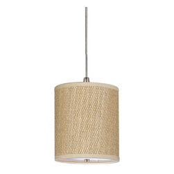 ET2 - Elements Satin Nickel One-Light RapidJack Mini Pendant with Grass Cloth Shade - - The Elements collection brings together all the right elements to make a statement.  - Bulbs Included.  - Finish: Satin Nickel.   - Grass Cloth Shade.   - All ET2 lighting is either UL or ETL Listed. ET2 - E95052-101SN