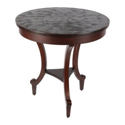 "Brandi Renee Designs - Round Textured Paxton Wood side Table, 24"" Round Top - This 24"" top round table has a deep dark cherry finish and beautiful legs. It will be a perfect accent to any area. The top has a textured finish that will resist scratches."