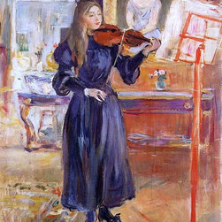 """Berthe Morisot A Girl Studying the Violin - 16"""" x 20"""" Premium Archival Print - 16"""" x 20"""" Berthe Morisot A Girl Studying the Violin premium archival print reproduced to meet museum quality standards. Our museum quality archival prints are produced using high-precision print technology for a more accurate reproduction printed on high quality, heavyweight matte presentation paper with fade-resistant, archival inks. Our progressive business model allows us to offer works of art to you at the best wholesale pricing, significantly less than art gallery prices, affordable to all. This line of artwork is produced with extra white border space (if you choose to have it framed, for your framer to work with to frame properly or utilize a larger mat and/or frame).  We present a comprehensive collection of exceptional art reproductions byBerthe Morisot."""