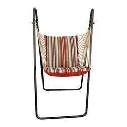 Algoma Net Company, Div. of Gleason Co - Hanging Chair with Stand Set - Brown - No need to hurry. This is one relaxing swing chair with stand. Made by Algoma Net Company of spun polyester weather-resistant fabric and 100% polyester rope cord with macrame clew ends. Hammock swing chair features thick foam cushions. Easy to setup and enjoy. Made in the USA.
