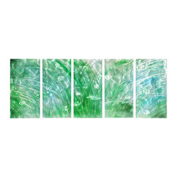 Pure Art - Prairie Fields Metal Wall Hanging Set of 5 - Tall prairie grasses of green and silver dance in the winds of spring to create a uniquely abstract work of art. This five panel metal wall hanging group is the ideal way to bring contemporary and modern style to any space in the home or office. This beautiful group of panels has been crafted and painted by hand using top quality materials. Welded brackets are located on the back of each panel for securing to the walls of your homeMade with top grade aluminum material and handcrafted with the use of special colors, it is a very appealing piece that sticks out with its genuine glow. Easy to hang and clean.