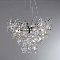 Warehouse of Tiffany - Artemis Chrome Nine-Light Chandelier - Adorn your dining room with this classy chrome chandelier. This elegant chandelier features several rows of cascading crystals and chrome fixture finishing. Made from metal,this piece will provide years of dynamic lighting in your dining room.