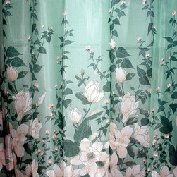 'Ambrosia- Screen-Printed Shower Curtain - Hello! Florals are so spring. Throw this in your bathroom and really give the room some fun.