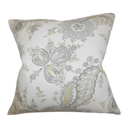 The Pillow Collection - Dilys Floral Pillow Opal - This floral pillow features a beautiful detail in shades of gray, white and yellow. A perfect adornment for your living room, bedroom or lounge area, this throw pillow offers maximum comfort and style. Crafted from a blend of 45% linen and 55% cotton material. This gorgeous accent piece is great for indoor settings. Hidden zipper closure for easy cover removal.  Knife edge finish on all four sides.  Reversible pillow with the same fabric on the back side.  Spot cleaning suggested.