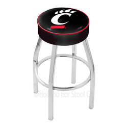 "Holland Bar Stool - Holland Bar Stool L8C1 - 4 Inch Cincinnati Cushion Seat - L8C1 - 4 Inch Cincinnati Cushion Seat w/ Chrome Base Swivel Bar Stool belongs to College Collection by Holland Bar Stool Made for the ultimate sports fan, impress your buddies with this knockout from Holland Bar Stool. This contemporary L8C1 logo stool has a single-ring chrome base with a 4"" cushion for a fashion that says ""sleek and simple"". Holland Bar Stool uses a detailed screen print process that applies specially formulated epoxy-vinyl ink in numerous stages to produce a sharp, crisp, clear image of your desired logo. You can't find a higher quality logo stool on the market. The plating grade steel used to build the frame is commercial quality, so it will withstand the abuse of the rowdiest of friends for years to come. The structure is triple chrome plated to ensure a rich, deep finish that will last ages. Construction of this framework is built tough, utilizing only solid mig welds. If you're going to finish your bar or game room, do it right- with a Holland Bar Stool. Barstool (1)"