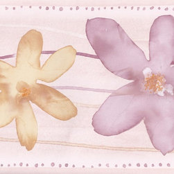 York Wallcoverings - Purple Yellow Watercolor Flowers Wallpaper Border - Wallpaper borders bring color, character and detail to a room with exciting new look for your walls - easier and quicker then ever.