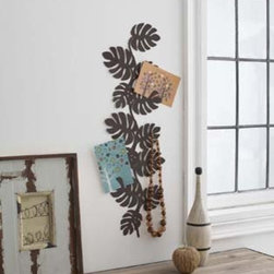 Brown Metal Leaf Wall Hanger for Accessories, Modern Home Decor - Display or store your favorite photos, postcards, jewelry or other accessories in style with this beautiful wall decor.