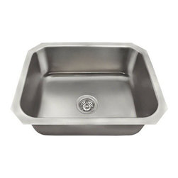"PolarisSinks - Polaris 8301US Single Bowl Stainless Steel Sink - Our collection of US made stainless steel kitchen sinks is made from 300-series stainless steel. The surface has a brushed satin finish to help mask small scratches that occur over time and keep your sink looking beautiful for years. The overall dimensions of the US1038 are 23 1/2"" x 18 1/4"" x 8"" and a 24"" minimum cabinet size is required. This sink contains a 3 1/2"" Centered drain, is fully insulated and comes with sound-dampening pads. As always, our stainless steel sinks are covered under a Limited lifetime warranty for as long as you own the sink."