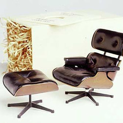 Vitra - Vitra Miniatures Collection: Eames® Lounge and Ottoman - Each handmade Vitra miniature is a classic in the history of furniture design reduced in size at a scale of 1:6. True to the original pieces in structure and materials, the miniatures are precision-crafted, making them a thoughtful gift for a furniture lover or design professional. Each miniature comes handsomely packaged in a wood box with an informational booklet.
