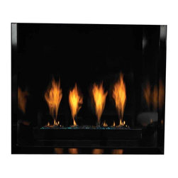 "Empire Comfort - Chateau Contemporary 36"" Direct-Vent Fireplace - Natural Gas - Front Accent burner operates as on/off. Decorative glass and dimmer-controlled Halogen lighting beneath the Accent Burner let you create the look to suit your decor and mood. Decorative glass beads are available in Sangria Luster, Aqua Blue, and Glacier Ice Lustrous Black Porcelain Liner reflects the flames and the accent lighting. The liner continues ""through"" the glass and conceals access panels at the front of the fireplace."
