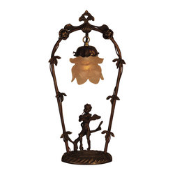Meyda Tiffany - Meyda Tiffany Cat E 50% Off Table Lamp in Mahogany Bronze - Shown in picture: Cherub With Violin Accent Lamp; Bring Victorian Romance Into Your Home With This Charming Cherub. He Plays The Violin Under This Leaf And Vine Accented Arbor - Which Hangs A Graceful Tiered Ruffled Blown Glass Shade Featured In Pink And White Colors. The Brass Lamp Is Finished In A Handsome Mahogany Bronze.
