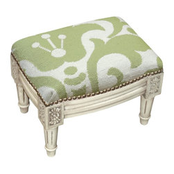 123 Creations - Damask Wool Needlepoint Wooden Footstool. Antique white wash. - This hand-crafted footstool is upholstered with hand-needlepoint. An unique and  beautiful accent furniture piece. Solid wood frame is hand-carved with hand-applied brass nail heads.