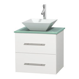 "Wyndham Collection - Centra 24"" White Single Vanity, Green Glass Top, Pyra White Porcelain Sink - Simplicity and elegance combine in the perfect lines of the Centra vanity by the Wyndham Collection. If cutting-edge contemporary design is your style then the Centra vanity is for you - modern, chic and built to last a lifetime. Available with green glass, pure white man-made stone, ivory marble or white carrera marble counters, with stunning vessel or undermount sink(s) and matching mirror(s). Featuring soft close door hinges, drawer glides, and meticulously finished with brushed chrome hardware. The attention to detail on this beautiful vanity is second to none."