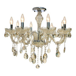 Lightupmyhome - Amber Flush Mount / Hanging Crystal Chandelier Pendant Lighting Fixture - This stunning candelabra chandelier will light up your home with elegance and class.  A stunning amber frame and glistening crystals ensure that this chandelier will be a great focal point of any room.