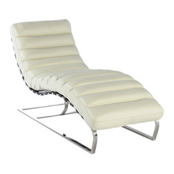 Vintage Classics-Lazzaro - Vintage Furniture Classics - Leather   Ripple White Leather Lounger - Wow, what a fantastic look in a chaise lounger. Ripple brings it all together in a comfortable , relaxing effect only a chaise like this can bring you. For those who appreciate style and design, the Ripple is what you desire. The rounded polished steel arms, and ribbed leather seat, creates an intuitive and free-thinking environment that inspires. Must sit in it, to experience it!