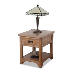 Leick Furniture - Storage Lamp End Table - Durable solid oak table top. Running slate decorative details. Drawer box. Full extension ball bearing drawer guides for easy access. Lower display shelf for storing magazines or favorite decor items. Hammered texture cup drawer pull. Made from hardwood solids and veneers. Hand applied multi-step windswept finish. Assembly required. 20 in. W x 24 in. D x 24 in. H (45 lbs.)