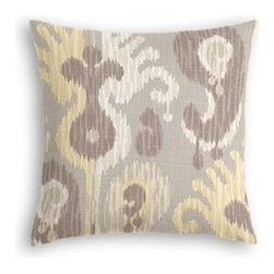Gray & Yellow Giant Ikat Custom Throw Pillow - The every-style accent pillow: this Simple Throw Pillow works in any space.  Perfectly cut to be extra fluffy, you�۪ll not only love admiring it from afar but snuggling up to it too! We love it in this oversized ikat that makes a big (literally!) statement in soft shades of gray and light yellow on luxurious linen.