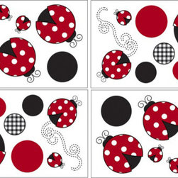 Sweet Jojo Designs - Little Ladybug Wall Decal Set of 4 Sheets by Sweet Jojo Designs - The Little Ladybug Wall Decal Set of 4 Sheets by Sweet Jojo Designs, along with the  bedding accessories.