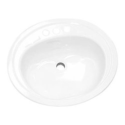 """BOOTZ INDUSTRIES - Lavatory Sink Drop in Steel 20"""" x 17"""" Oval White - Features:"""