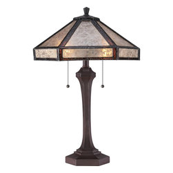 Quoizel - Quoizel Russet Lamps - SKU: MC1796TRS - At a little over two feet tall, Fielding is a regal and statuesque mica lamp. The Tiffany glass strips encompass the oyster mica shade in a subtle yet beautiful way and the complimenting Russet finish rounds out the design.