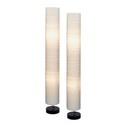 Aspire - Isa Round Floor Lamp - Set of 2 - Set of 2. Use the contemporary style of this set of two round floor lamps to light up your space. Each lamp features a sophisticated cylinder fabric shade design and two light bulbs for plenty of illumination. Wood. Color/Finish: Black, beige. UL listed. Uses 2 X 60 watt max bulb per lamp. 48 in. H x 7 in. W x 7 in. D. Weight: 13 lbs.