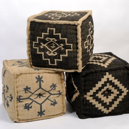 Ottoman Pouf Cube, Gray With Natural Trim - I love these rustic-inspired poufs for their folkloric influences and their cubic shape.