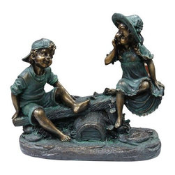 Alpine - Girl and Boy Playing on Teeter Totter Statue - Features: