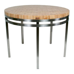 John Boos - Round Table w Stainless Steel Base - Smart elegance. Artistic appeal. Simplistic and contemporary. Professional work spaces. Fully welded construction