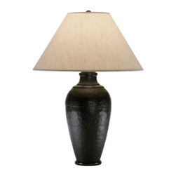 Robert Abbey - Robert Abbey Foundry Vertically Gifted Pot Table Lamp 9939KRST - Antique Rust Finish over Cast Metal