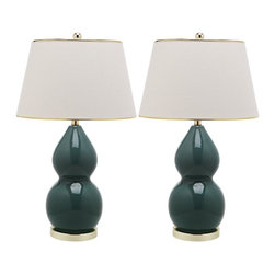 """Lamps Plus - Traditional Laurice Marine Blue Ceramic Table Lamps Set of 2 - A ceramic table lamp set in a marine blue shade. Each design features a double gourd base in ceramic construction. A switch allows you to adjust the light as you need it with ease. Table lamp set. Set of 2.  Light blue finish. Double gourd base design. Ceramic construction. Brass stand and fittings. On-off switch. Cotton tapered lamp shades. Maximum 100 watt or equivalent bulb (not included). Shades measure 12"""" across the top 16"""" across the bottom 10"""" high. 28"""" high.  Table lamp set.  Set of 2.  Light blue finish.  Double gourd base design.  Ceramic construction.  Brass stand and fittings.  On-off switch.  Cotton tapered lamp shades.  Maximum 100 watt or equivalent bulb (not included).  Shades measure 12"""" across the top 16"""" across the bottom 10"""" high.  28"""" high."""