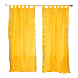 Indian Selections - Pair of Yellow Tab Top Sheer Sari Cafe Curtains, 43 X 36 In. - Size of each curtain: 43 Inches wide X 36 Inches drop .