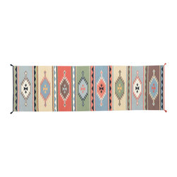 3'X10' Area Rug, Hand Woven 100% Wool Flat Weave Southwest Design Rug SH11680 - Soumaks & Kilims are prominent Flat Woven Rugs.  Flat Woven Rugs are made by weaving wool onto a foundation of cotton warps on the loom.  The unique trait about these thin rugs is that they're reversible.  Pillows and Blankets can be made from Soumas & Kilims.