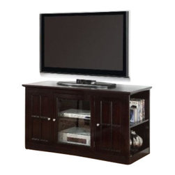"""Coaster - TV Console (Espresso) By Coaster - Contemporary style. One glass door. Two shelves behind door. Two open shelves on each end. Smooth top with straight edges. Clean lines, straight edges and plinth bases. Simple silver tone metal knobs. Made from medium density fiberboard. Deep dark espresso wood finish. 48 """" W x 20 """" D x 26.5 """" H.  This elegant media console will be a stylish addition to your living room, offering clean lines and ample storage space."""
