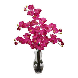 Nearly Natural - Phalaenopsis w Vase Silk Flower Arrangement - A classic orchid to be enjoyed by all. Bring color and life into any space. No maintenance or watering needed. Construction Material: Polyester material, plastic, Iron, Glass. 19 in. W x 8 in. D x 29 in. H ( 4 lbs. ). Pot Size: 4.25 in. W x 9.25 in.HPainting a mosaic of beauty and splendor, this remarkable floral arrangement adds a portrait of color to any room.  With its beautiful and full flower petals, this will add a happy memory to whatever event it takes part in. Complete with a decorative vase filled with liquid illusion faux water, this elegant beauty will stay looking fresh for years to come.