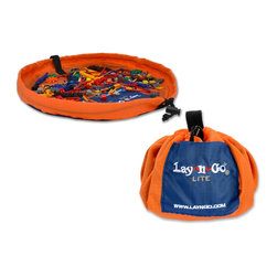 "Lay-n-Go - Lay-n-Go LITE, 18"", Orange - Lay-n-Go® LITE (patent pending) is an 18 inch travel/mini activity mat that converts into an easily transportable satchel allowing for a quick and effortless clean-up of small toy pieces in seconds.  Toy collections used on the Lay-n-Go surface are easily spread out for hours of fun at restaurants, on airplanes, in cars, at Grandma's house, etc.  Once playtime is over, the drawstring is pulled and the activity mat is instanly converted back into a soft storage bag.  Lay-n-Go LITE is small, but like its big brother/sister, it is a smart and easy personal activity mat, cleanup, storage and handy little carryall solution in one."