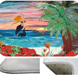 "usa - Mermaid Rising Bath Mat,  30"" X 20"" - Bath mats from my original art and designs. Super soft plush fabric with a non skid backing. Eco friendly water base dyes that will not fade or alter the texture of the fabric. Washable 100 % polyester and mold resistant. Great for the bath room or anywhere in the home. At 1/2 inch thick our mats are softer and more plush than the typical comfort mats. Your toes will love you."