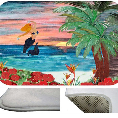 """usa - Mermaid Rising Bath Mat,  30"""" X 20"""" - Bath mats from my original art and designs. Super soft plush fabric with a non skid backing. Eco friendly water base dyes that will not fade or alter the texture of the fabric. Washable 100 % polyester and mold resistant. Great for the bath room or anywhere in the home. At 1/2 inch thick our mats are softer and more plush than the typical comfort mats. Your toes will love you."""