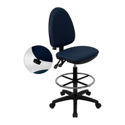 Flash Furniture - Flash Furniture Mid-Back Drafting Stool in Navy Blue - Flash Furniture - Drafting Chairs - WLA654MGNVYDGG - Articulating the sophistication of European styling along with the functionality of a multi-positional chair this drafting stool from Flash Furniture is sure to please. Employing a unique adjustable lumbar support system customizable to the specifications of almost anyone the user can be assured of a comfortable experience not usually found in most economic drafting stools or even computer chairs. This comfort level is attained simply by supporting the natural curvature of the user's spine near the small of the back - right at the point where most people experience lower back pain. Featuring in addition to the adjustable lumbar support a standard seat height adjustment asynchronous locking back angle adjustment mechanism and a drafting kit with foot ring we are certain that this drafting chair will be the perfect fit. [WL-A654MG-NVY-D-GG]