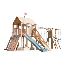 CedarWorks - CedarWorks Frolic 2 Swingset - My kids love to climb, what do you recommend? The Frolic line of outdoor playsets has answers to all your questions. Frolic 2 has lots of climbing accessories including an angled climbing wall, step ladder and ramp.
