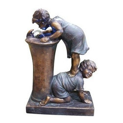Alpine Corporation - Boy and Girl Drinking Water Fountain with LED Light - Add water to an environment and experience a sense of peace with any of these bronze finish fountains. A classic addition to any indoor/ outdoor retreat of your choice.