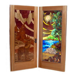 Eclectic Entrances - Inlaid intarsia design alongside stained glass with one continuous design.    Wolf howling at the moon with northern lights overhead.