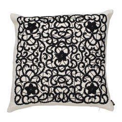 Ankasa - Deco Pillow - Woven Leather Pillow Linen with all over leather embroidery