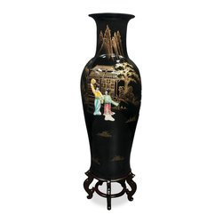 China Furniture and Arts - Hand-Painted Vase w/ Soap Stone Motif - This beautiful porcelain vase features soap stone dancing Chinese figures and can be used for your favorite bouquet or stand alone on a pedestal. Hand painted black lacquer accented with gold highlighted scenery makes this vase stands out wherever it is placed. Imported from China. Matching stand sold separately.