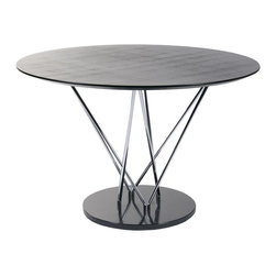 """Euro Style - Stacy Round Dining Table - This table makes a statement and it goes like this: """"I am strong, modern, built to last and I'm virtually indestructible"""".  It's true.  With a marble base and black veneered top this table boasts a chromed steel infrastructure that is a marvel of sturdiness and style."""